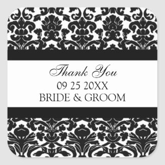 Black Damask Thank You Wedding Favor Tags Stickers