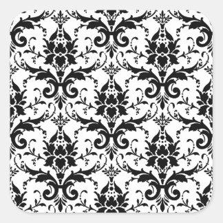 Black Damask Tile Pattern Square Stickers