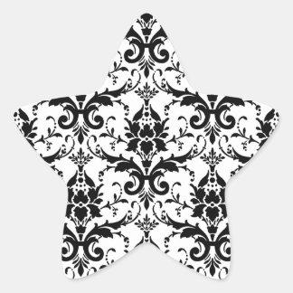 Black Damask Tile Pattern Star Sticker