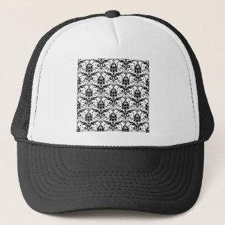 Black Damask Tile Pattern Trucker Hat