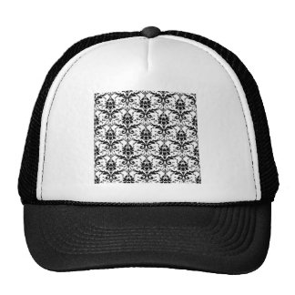 Black Damask Tile Pattern Trucker Hat