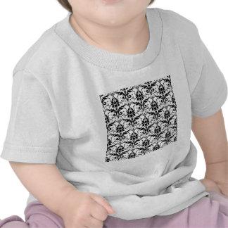 Black Damask Tile Pattern T-shirt