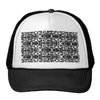 Black damask trucker hat
