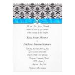 Black Damask Turquoise Jewel Wedding Invitations