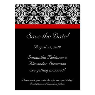 Black Damask w/Red Accent Save the Date Postcard