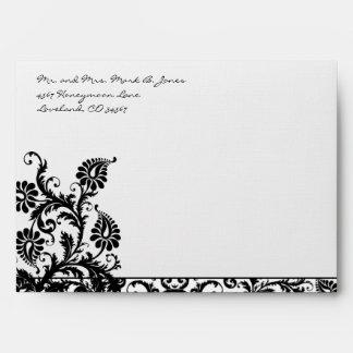 Black Damask Wedding Envelopes Black Inside