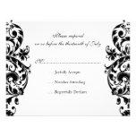 Black Damask Wedding Invitation RSVP Response Card
