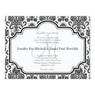 "Black Damask Wedding Invitations Monogram M 5.5"" X 7.5"" Invitation Card"