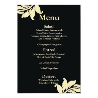 "Black Damask Wedding Menu 5"" X 7"" Invitation Card"