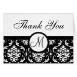 Black Damask Wedding Monogram Thank You Card