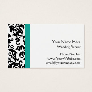 Black Damask Wedding Planner Business Cards