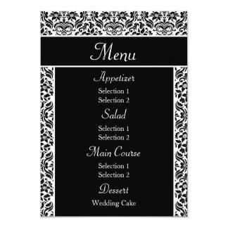 Black Damask Wedding Reception Dinner Menu 5x7 Paper Invitation Card