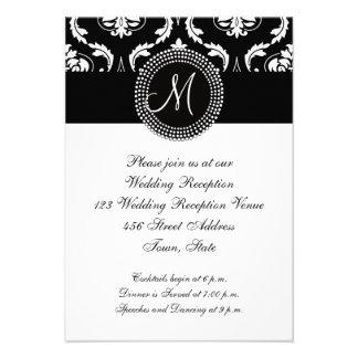 Black Damask Wedding Reception for Square Card