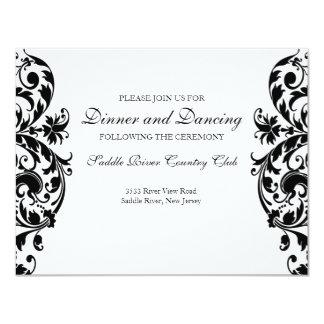 Black Damask Wedding Reception Invitation Card