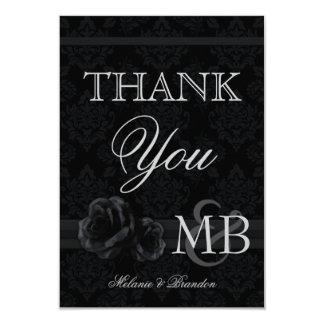 Black damask Wedding Thank You cards