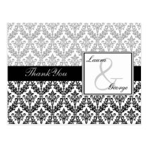 black damask wedding Thank You Postcard