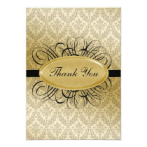 black  damask wedding ThankYou Cards
