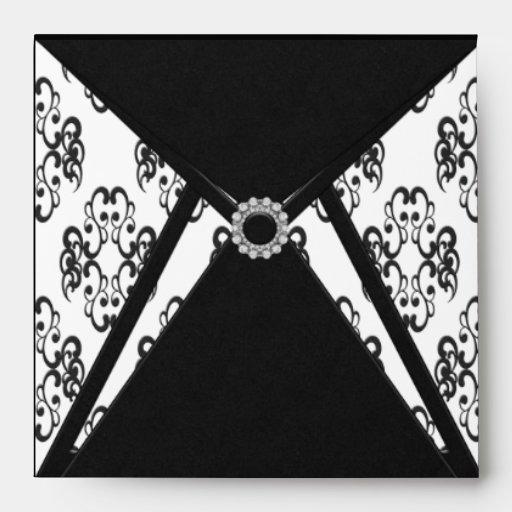 Black Damask White Diamond Damask Envelope