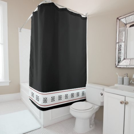 Black damask with a touch of tan color shower curtain