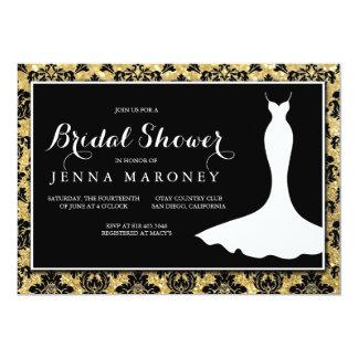 Black Damask with Gold Glitter Bridal Shower Card