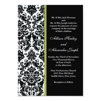 Black Damask with Green accent Wedding Invitation