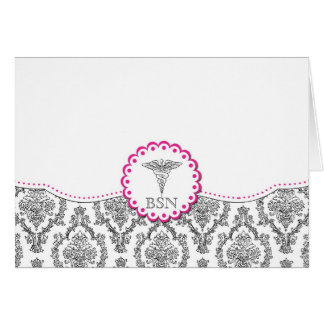Black Damask with hot pink LPN RN Thank You notes
