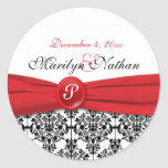 "Black Damask with Poppy Red 1.5"" Round Sticker"