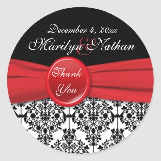 Black Damask with Poppy Red 3