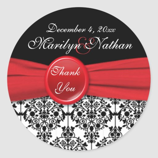 "Black Damask with Poppy Red 3"" Round Sticker"