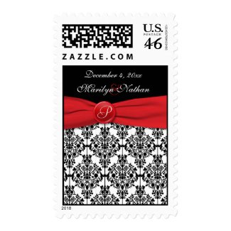 Black Damask with Poppy Red Monogrammed Postage stamp