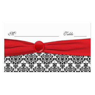 Black Damask with Poppy Red Placecards Double-Sided Standard Business Cards (Pack Of 100)