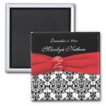 Black Damask with Poppy Red Save the Date Magnet