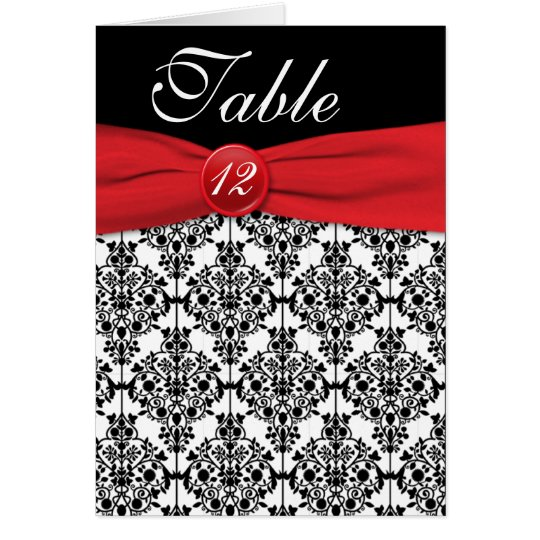 Black Damask with Poppy Red Table Number Card