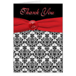 Black Damask with Poppy Red Thank You Card Greeting Card