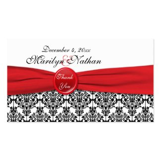 Black Damask with Poppy Red Wedding Favor Tag profilecard