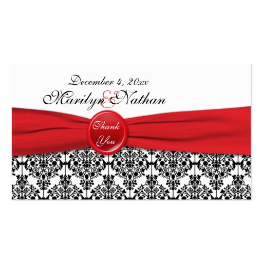 Black Damask with Poppy Red Wedding Favor Tag Business Card Templates