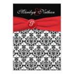 "Black Damask with Poppy Red Wedding Invitation 5"" X 7"" Invitation Card"