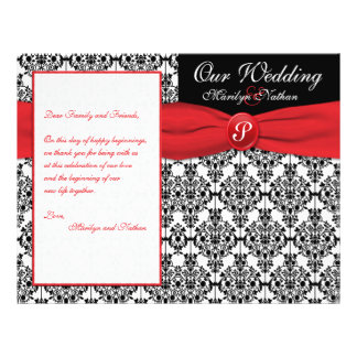 Black Damask with Poppy Red Wedding Program