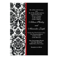 Black Damask with red accent Wedding Invitation