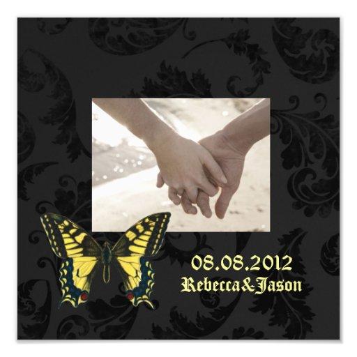 Black damask Yellow Butterfly Wedding Art Photo
