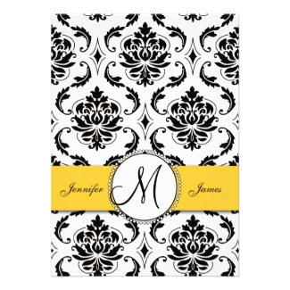 Black Damask Yellow Wedding 5 x 7 Invitation