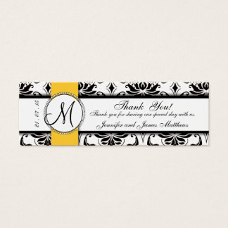 Black Damask Yellow Wedding Favor Tag