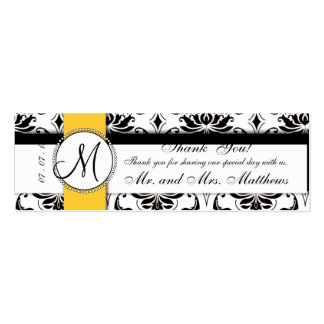 Black Damask Yellow Wedding Favor Tag Double-Sided Mini Business Cards (Pack Of 20)