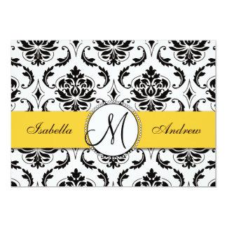 Black Damask Yellow Wedding Invitation