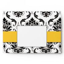 Black Damask Yellow Wedding Invitation A7 Envelope