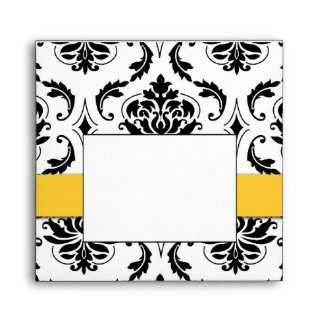 Black Damask Yellow Wedding Invitation Envelope
