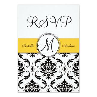 Black Damask Yellow Wedding RSVP Card