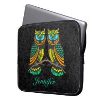 Black Damasks Colorful Abstract Pair Of Owls Computer Sleeve