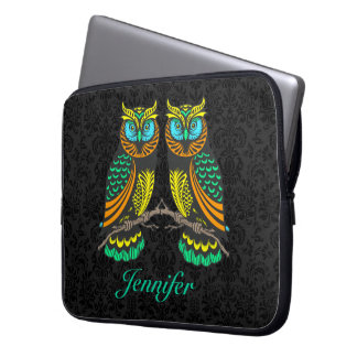 Black Damasks Colorful Abstract Pair Of Owls Laptop Sleeves