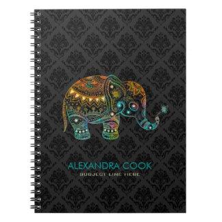 Black Damasks Colorful Floral Elephant 2 Notebook